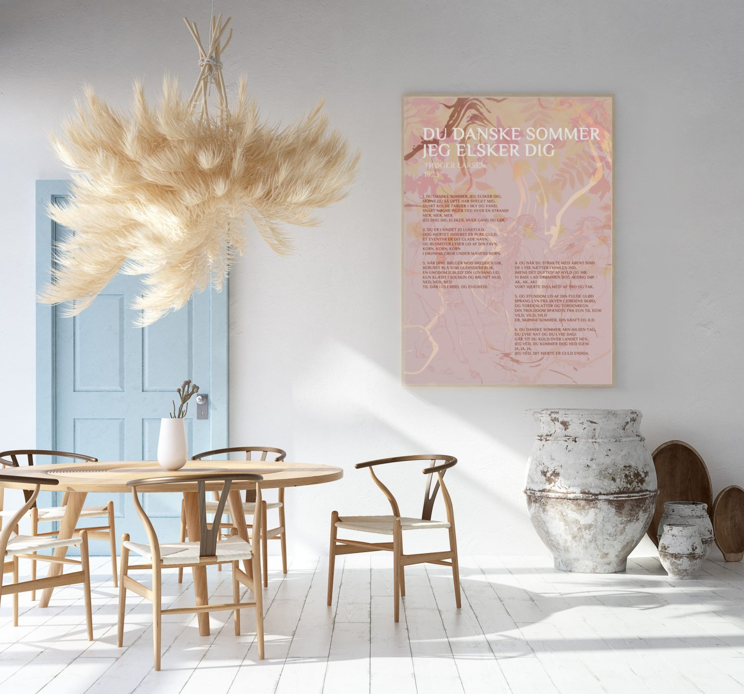 Home interior with poster mockup, Scandinavian Bohemian style, 3d render